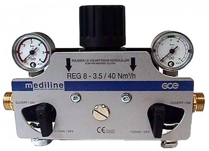 Стабилизатор давления LINE REG O2, N2O, AIR, CO2, N2, 16/4,5 бар (диапазон установки давления на выходе 0,5-10 бар), 40Nm3/h